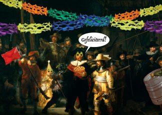grappige kunst verjaardagskaart rembrandt de nachtwacht gefeliciteerd - voor de jarige of andere felicitatie - jarig ansichtkaart