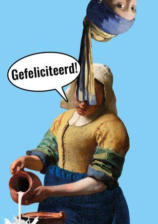 verjaardagskaart meisje met de parel melkmeisje vermeer gefeliciteerd ansichtkaart