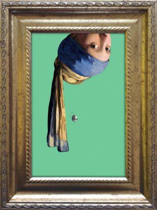 baroklijstje meisje met de parel ondersteboven - vermeer - grappige kunst in het klein