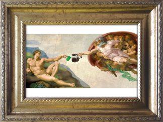 baroklijstje michelangelo schepping van adam - koffie - koffiekunst - ingelijst