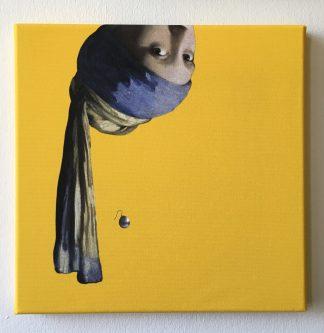 vermeer canvas schilderij meisje met de parel pop art oker