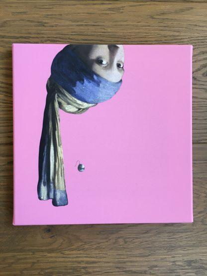 vermeer canvas schilderij meisje met de parel pop art roze