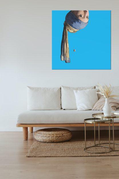 vermeer canvas schilderij meisje met de parel pop art blauw groot 100x100
