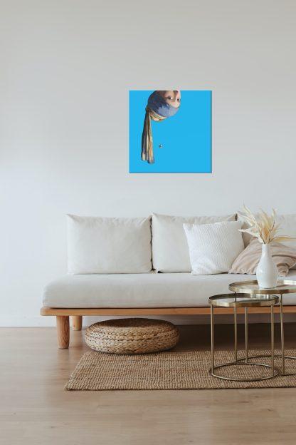 vermeer canvas schilderij meisje met de parel pop art blauw