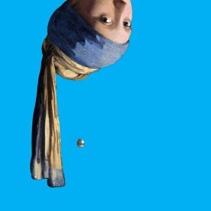 canvas schilderij vermeer meisje met de parel pop art blauw grappige kunst aan de muur
